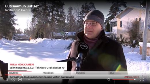 MTV uutiset 18.2.2021: Korjausrakentamisen määrä pitäisi tuplata sanoo Mika Hokkanen